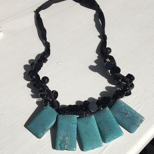 Jewelry - Turquoise and Black Beaded Necklace